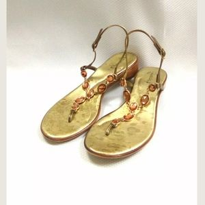 Matisse Italy 8.5 Gold Jeweled Leather Sandal   BP